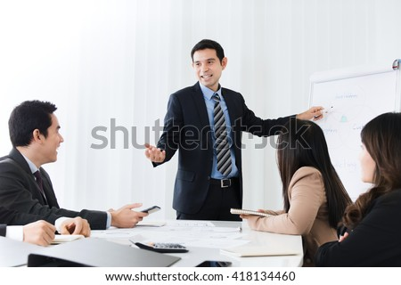 Businessman as a meeting leader giving presentation in the meeting room - stock photo