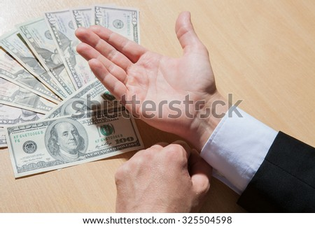 Businessman asking money, closeup shot