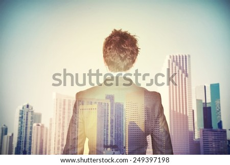 Businessman aspires to success in the economy - stock photo