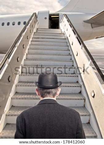 businessman at airport before boarding - stock photo