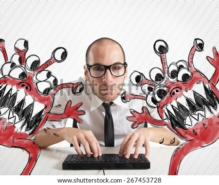 Businessman attempts to eradicate computer from viruses - stock photo