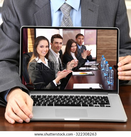 Businessman attending video conference
