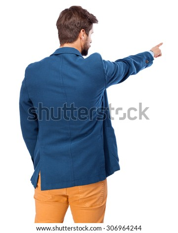 businessman back pointing front  - stock photo
