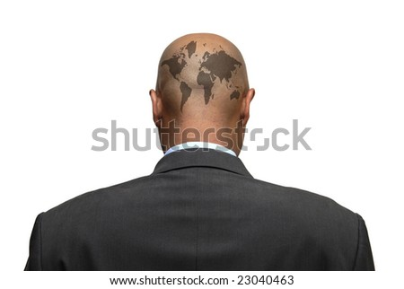 Businessman back with world map in is head, isolated against a white background