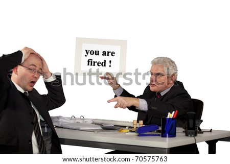 businessman being fired by his senior manager - stock photo