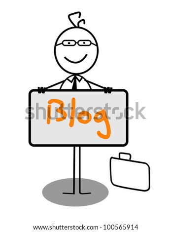 Businessman blog Banner - stock photo