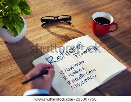 Businessman Brainstorming About Retirement Planning - stock photo