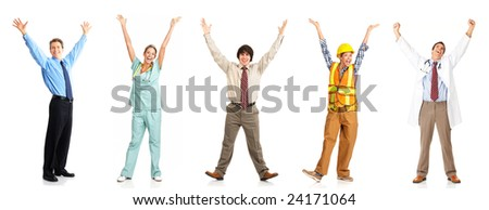 Businessman, builder, nurse, doctor. Isolated over white background - stock photo
