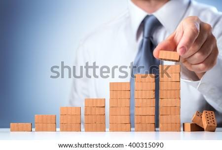 Businessman Building The Success  - stock photo