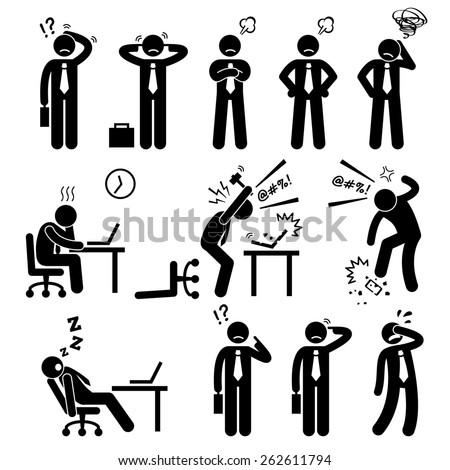 Businessman Business Man Stress Pressure Workplace Stick Figure Pictogram Icon - stock photo
