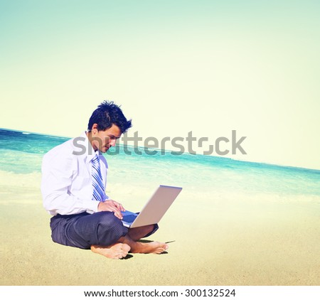 Businessman Business Travel Working Beach Concept - stock photo