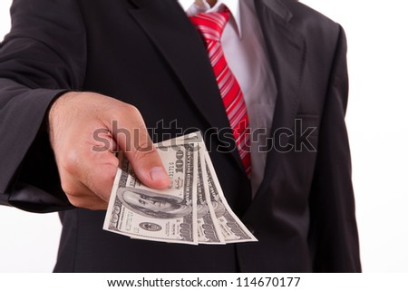 Businessman buying, selling something and giving dollars which holding.