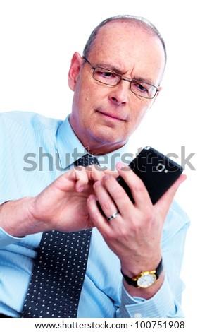 Businessman calling by phone. Communication technology. - stock photo