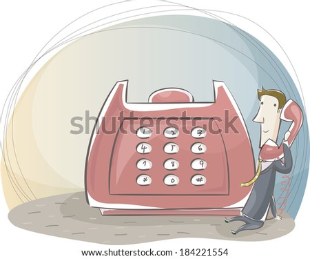 Businessman calling on giant red phone