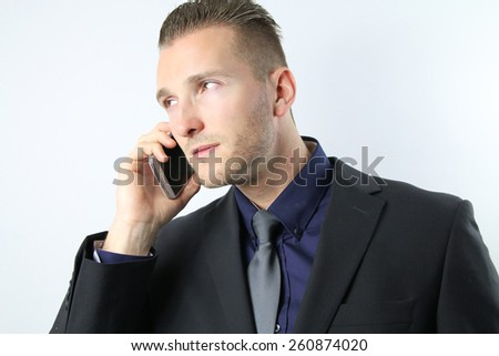 businessman calls for a business meeting