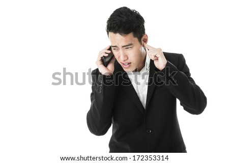 Businessman can't hear the speaker on the phone