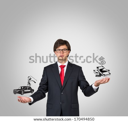 Businessman, car and money - stock photo