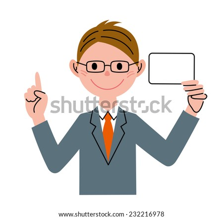 Businessman Card Pointing - stock photo