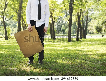 Businessman Cardboard Environmental Conservation Ecology Concept