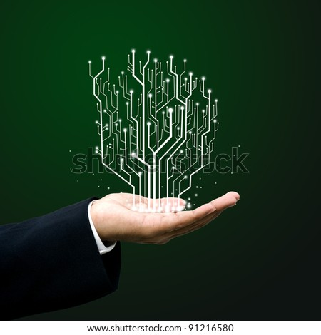 Businessman carry Circuit board line - stock photo