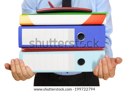 businessman carrying binders - stock photo