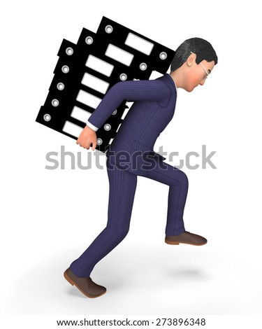 Businessman Carrying Files Indicating Paperwork Craving And Faq - stock photo