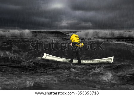 Businessman carrying golden euro sign on money boat in dark stormy sea with wave coming. - stock photo