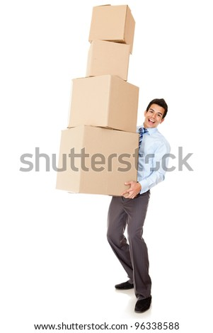 Businessman carrying heavy boxes - isolated over a white background