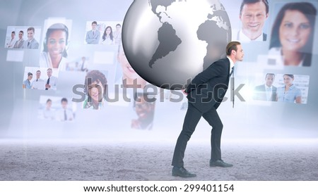 Businessman carrying the world against business people profiles