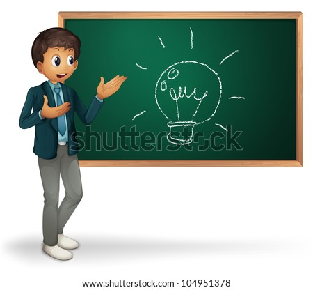 Businessman cartoon presenting on blackboard - EPS VECTOR format also available in my portfolio.
