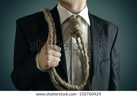 Businessman caught in a difficult position. The easy way out. - stock photo