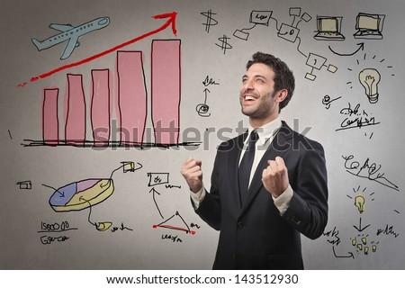 businessman celebrates success - stock photo