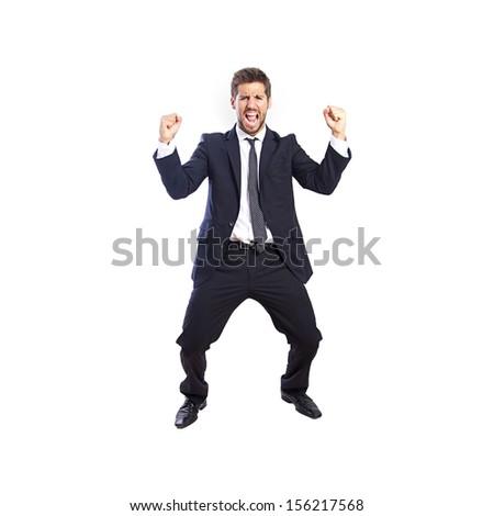 businessman celebrating his success - stock photo