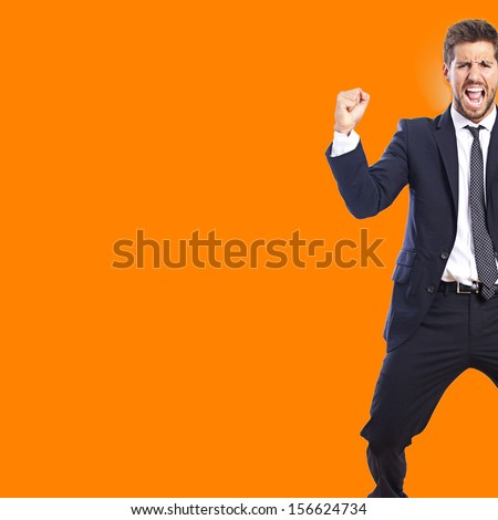 businessman celebrating his success - stock photo