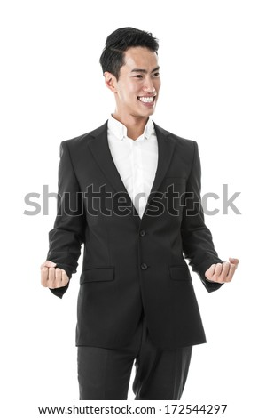 Businessman celebrating in joy