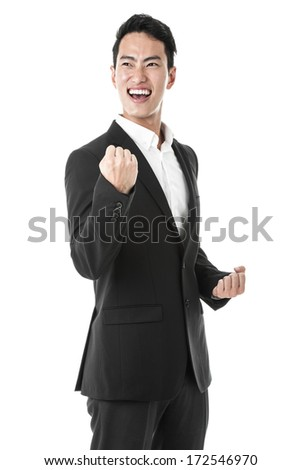 Businessman celebrating success - stock photo