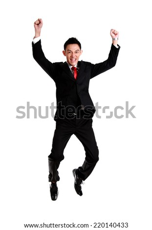 businessman celebration success,businessman jumping. Isolated on white