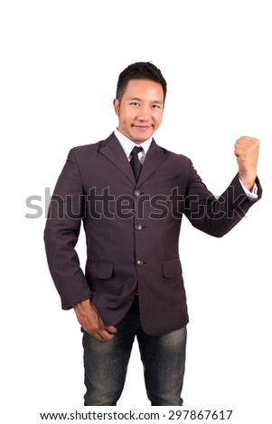 businessman celebration success. Isolated on white with clipping path