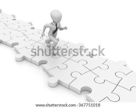 Businessman Character Running over the Puzzle - High Quality 3D Render