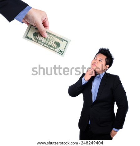 Businessman chase people with money metaphor - stock photo