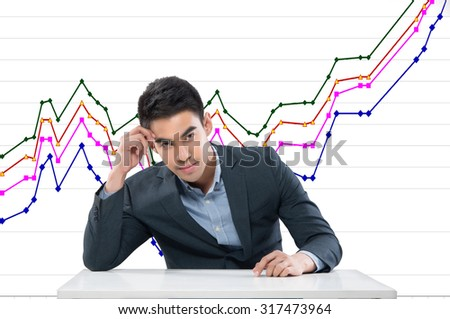 businessman checking data chart - stock photo