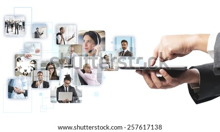 Businessman checking his business team while working