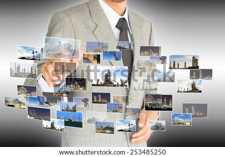 businessman choose choice of industrial factory concept abstract background - stock photo