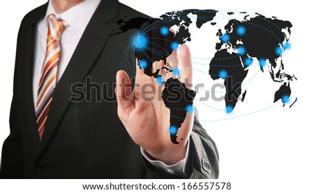 businessman chooses an airline to fly him to his contact - stock photo