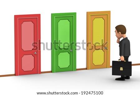 businessman chooses door - stock photo