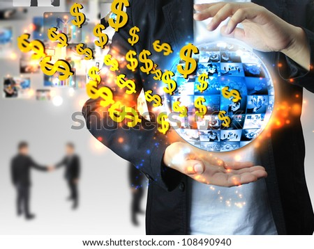 businessman chooses US dollar sign - stock photo