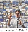 Businessman choosing a place from a list with the places images - stock photo