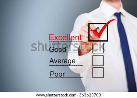 Businessman choosing Excellent on virtual customer service evaluation form over blue background