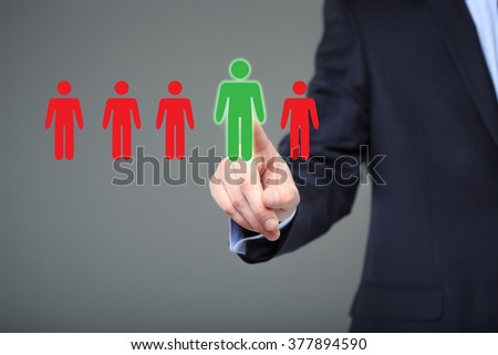 businessman choosing right partner from many candidates - stock photo