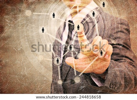 Businessman Choosing the right person in the old paper in the old texture - stock photo